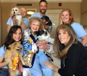 "Helen Woodward Animal Center Adoptable Dogs and Staff Meet Acting Legend Betty White on ""Best In Shelter with Jill Rappaport."""